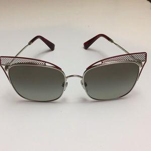 Valentino 2017 Cat Eye Silver Dark Red Sunglasses